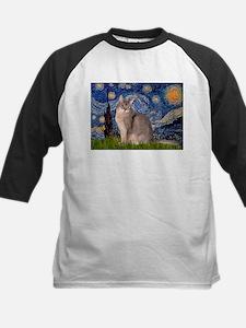 Starry / Blue Abyssinian cat Kids Baseball Jersey