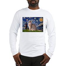 Starry / Blue Abyssinian cat Long Sleeve T-Shirt