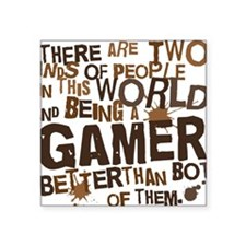 """gamer_two_brown Square Sticker 3"""" x 3"""""""
