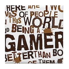 gamer_two_brown Tile Coaster