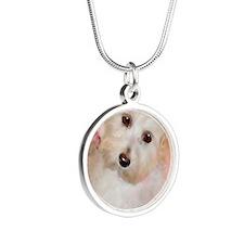 Maltipoo Silver Round Necklace