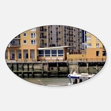A police boat on the River Thames i Sticker (Oval)