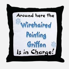 Wirehaired Griffon Charge Throw Pillow