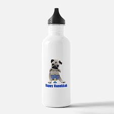 Happy Hanukkah Pug and Menorah Water Bottle