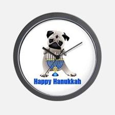 Happy Hanukkah Pug and Menorah Wall Clock