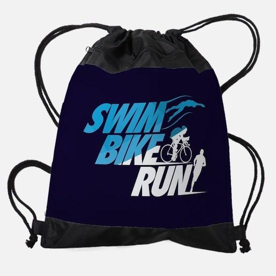 Swim Bike Run Split Blue Dark FB Drawstring Bag