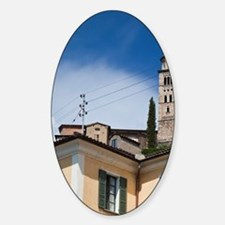 Morcote. Lakefront buildings and Ch Sticker (Oval)