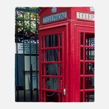 Red telephone booth in London, Engla Throw Blanket