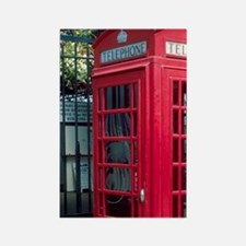 Red telephone booth in London, En Rectangle Magnet