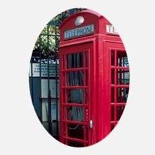 Red telephone booth in London, Engla Oval Ornament