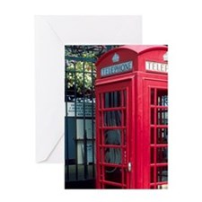 Red telephone booth in London, Engla Greeting Card
