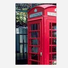 Red telephone booth in Lo Postcards (Package of 8)