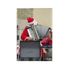 Santa musician and dog Rectangle Magnet