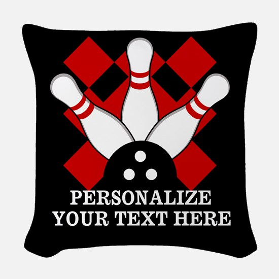 Bowling Personalzied for Dark Woven Throw Pillow