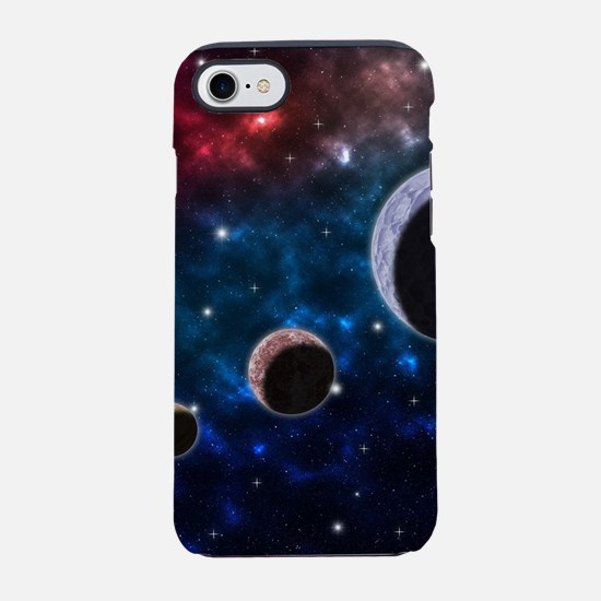 Space scenery with globe plane iPhone 7 Tough Case