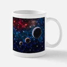 Space scenery with globe planets nebula dusts Mugs
