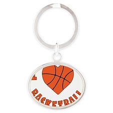 wh  orange, Love Basketball Oval Keychain