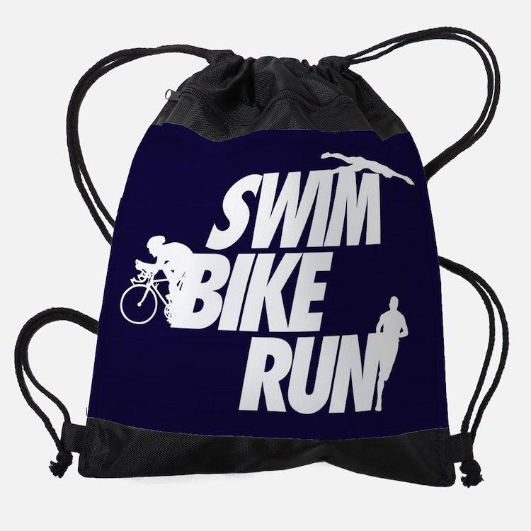 Swim Bike Run Dark V1 FB Drawstring Bag