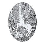 Splash! Unicorn Oval Ornament