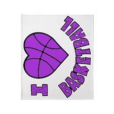 lavendar sideways, Love Basketball Throw Blanket