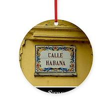 CUBACalleHabanaCanvasChazExt Round Ornament