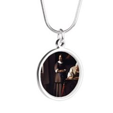 Lady Writing a Letter Silver Round Necklace