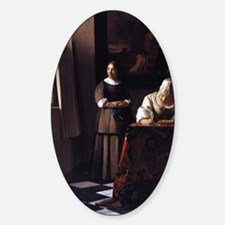Lady Writing a Letter Sticker (Oval)