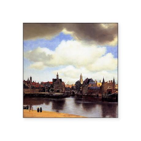 """View of Delft Square Sticker 3"""" x 3"""""""