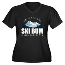 ski bum drk Women's Plus Size Dark V-Neck T-Shirt