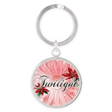 twilight christmas flower with pink Round Keychain