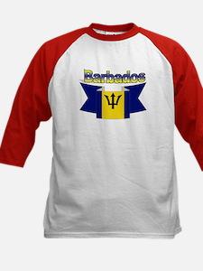 The Barbados flag ribbon Kids Baseball Jersey