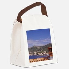An ochre colored roof of a house  Canvas Lunch Bag