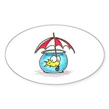 fish and umbrella Oval Decal
