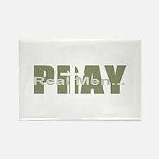 Real Men Pray - Olive Rectangle Magnet