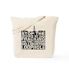 StopNYFrackLg_BlkTxt Tote Bag