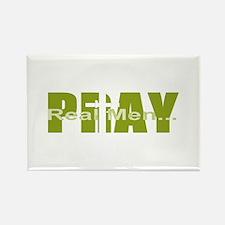 Real Men Pray - Dk Lime Rectangle Magnet