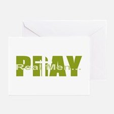 Real Men Pray - Dk Lime Greeting Cards (Package of