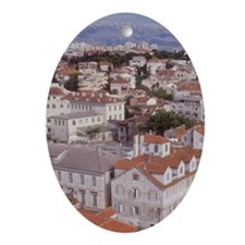 Looking NE over the city of Split fr Oval Ornament