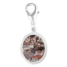Looking NE over the city of Spl Silver Oval Charm