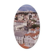 Looking NE over the city of Split  Oval Car Magnet