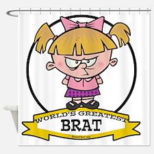 WORLDS GREATEST BRAT CARTOON Shower Curtain