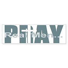 Real Men Pray - Lt Teal Bumper Bumper Sticker