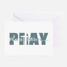 Real Men Pray - Lt Teal Greeting Cards (Package of