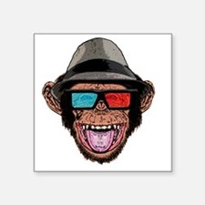 "HIPSTER_CHIMP_3D Square Sticker 3"" x 3"""