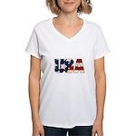 USA Flag Women's V-Neck T-Shirt
