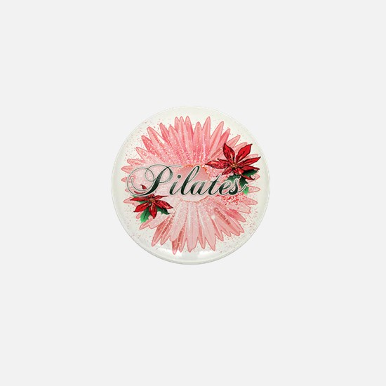 pilates pink snow christmas flower cop Mini Button