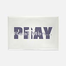Real Men Pray - Lilac Rectangle Magnet