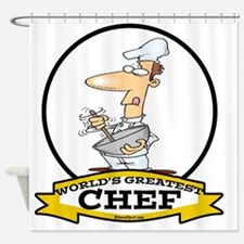 WORLDS GREATEST CHEF CARTOON Shower Curtain