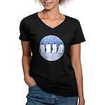 Penguin Quartet Women's V-Neck Dark T-Shirt