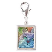 Blue Cat larger Silver Portrait Charm